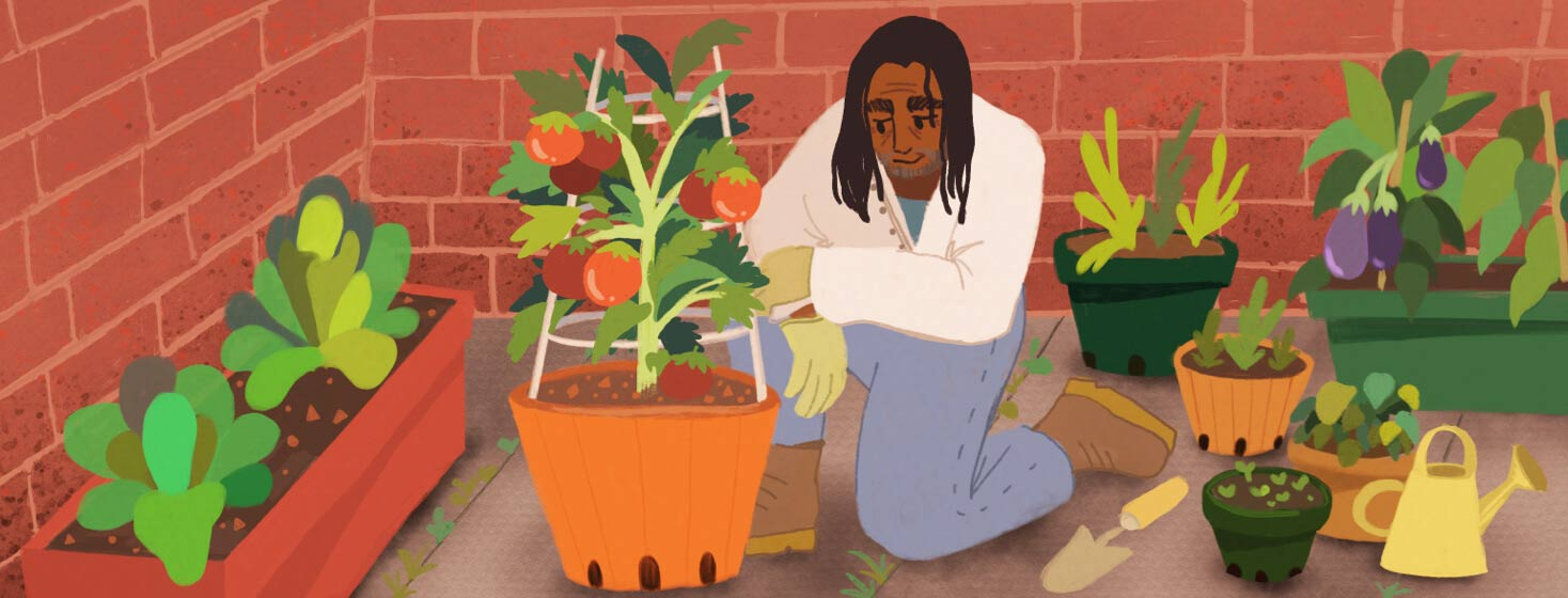 Adult male gardening and growing vegetables in pots. Black, POC