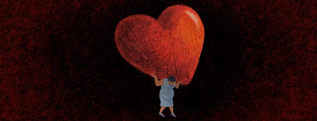 Pregnant adult female struggles to carry a large, overbearing heart on her back. POC, Black