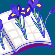 Irises, flowers growing out of a planner, schedule book. Spring, growth, healing, recovery.