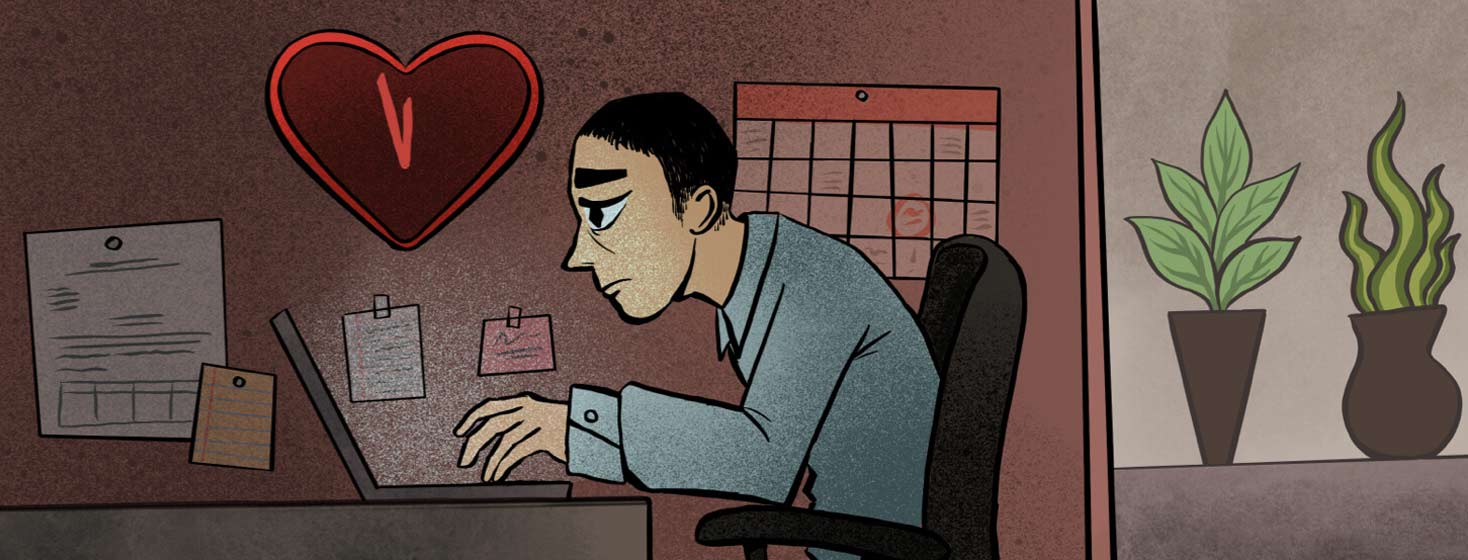 Adult male works at desk in cubicle. He is overworked and above him is a heart shaped clock that is about to strike midnight