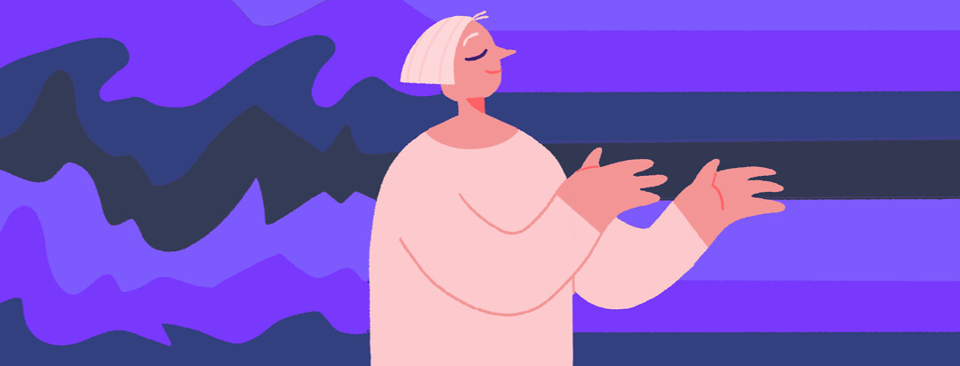 A senior woman holds her arms out, letting chaotic emotions pass through her and come out calmer on the other side, acceptance, emotional regulation, calm, emotions,