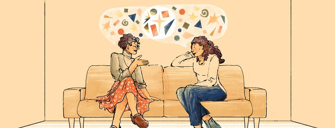 An older woman and a young woman compare notes and have a conversation