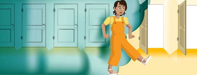 a woman steps gingerly out of a cloud with closed doors into a bright space with open doors.
