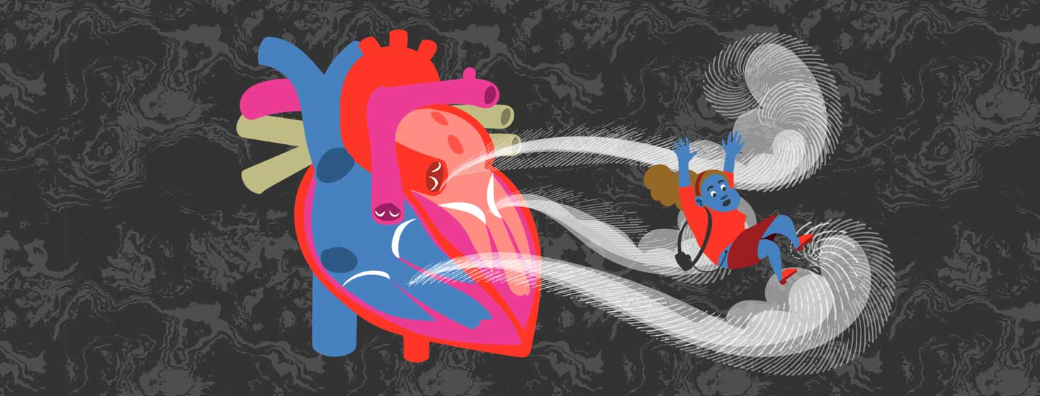 an anatomical heart with waves coming out of the mitral and temporal valves, and the aorta, and sweeping a woman away who has an LVAD
